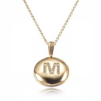 Personalized Initial Letter Charm Pendant Necklace Adorned with Cubic Zirconia