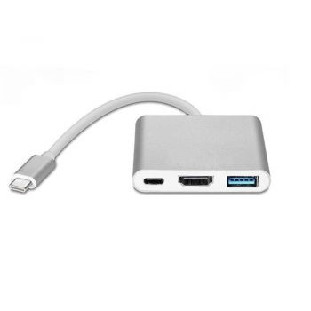 Xcessories Male USB-C to HDMI, USB-A 3.0 & USB-C Female Adapter - Silver