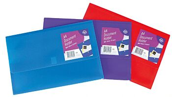 Document Wallet A4 with Velcro Assorted Coloursours
