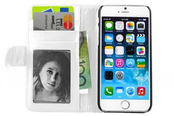 Folio Wallet PU Leather Case w/Card Holder for Iphone 6+/6S Plus White