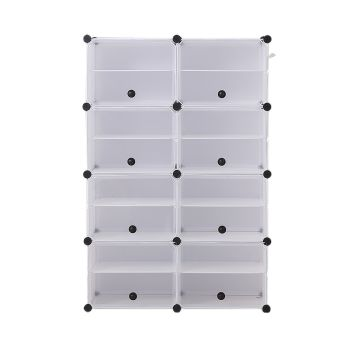 8 Tier Cute Cabinet Stackable Organiser for Shoes in White