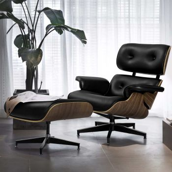 Artiss Eames Lounge Chair Ottoman Replica Recliner Chairs Armchair Leather Black