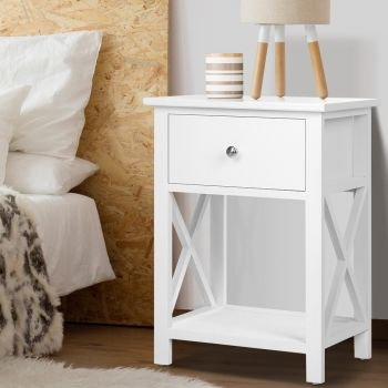 Bedside Tables Drawers Side Table White Lamp Nightstand Storage Cabinet