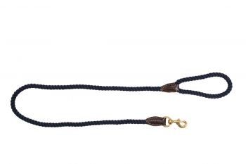 MOG AND BONE LEATHER BRASS ROPE LEAD NAVY 1.8M