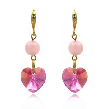 Xillion' Heart Dangling Earrings Adorned with Rose Quartz & Rose AB Swarovski® Crystals.
