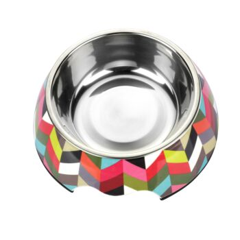Charlie'S Pet Melamine Printed Pet Feeders With Stainless Steel Bowl  Stripe Small