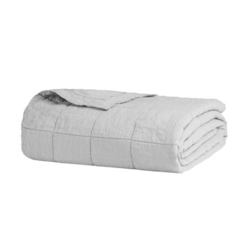 QB/KB Linen Quilted Coverlet Silver