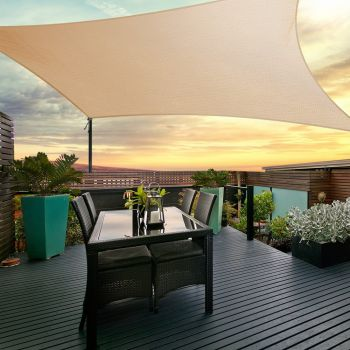 Instahut Sun Shade Sail Cloth Shadecloth Outdoor Canopy Square 280gsm 5x5m