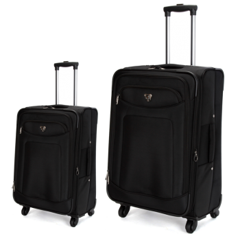 Swiss  Luggage Suitcase Lightweight with  8 wheels 360 degree rolling SoftCase 2-Piece Set SN8109A&C-Black