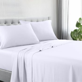 King Bed 1200TC Cotton Rich Bed Sheet Sets in White