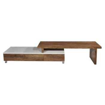 Charlene Extendable TV Stand Cabinet Entertainment Unit - High Gloss White Body - Antique Oak Top and Drawers