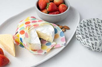 2 Pack Beeswax Wraps: Cheese & Snacks: 1S 1M (Polka dot)