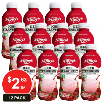12 Pack, Nippy's 500ml Bottles Iced Strawberry Flavoured Milk