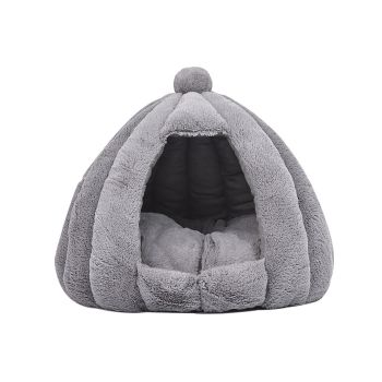 Comfy Cat Bed in Cat Dog Bedding Castle Igloo Nest Medium in Grey