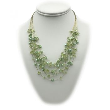 Crystal Glass, Fresh Water Pearls, Peridot & Japanese Silk Cord 925 Sterling Silver Necklace