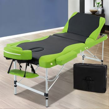 Zenses 75cm Aluminium Portable Massage Table 3 Fold Beauty Therapy Bed Waxing
