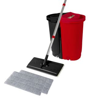 Flat Mop Bucket Floor Cleaner with Microfibre Mop Heads