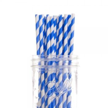 1,000 Pack - Blue White Hoop Biodegradeable Straws - 100% Natural Organic Eco Friendly Drinking Straws - Alternative to Plastic Throw Away