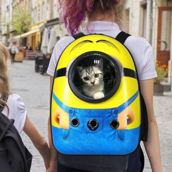 Minions Pet Cat Carrier Bag Backpack Astronaut Space Capsule Puppy Travel