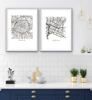 City Maps - 360 Cities Round The World - Wall Art Print s