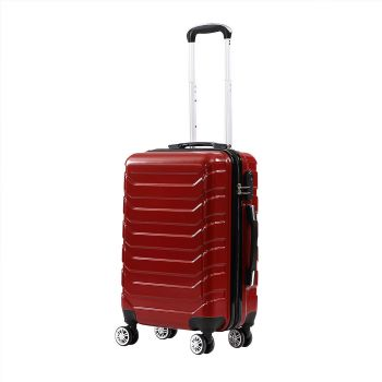 Suitcase Luggage Set 3 Piece Sets Travel Organizer Hard Cover Packing Lock in Red