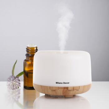 Milano Decor Mood Light Diffuser 500ml Ultrasonic Humidifier With 3 Pack Oils