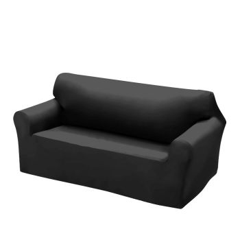 Easy Fit Stretch Couch Sofa Slipcovers 2 Seater in Black