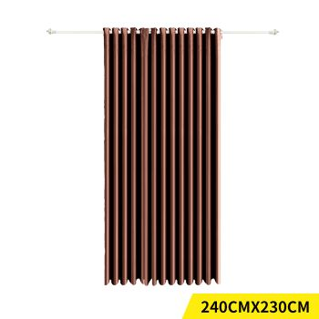 Deluxe Blockout 3 Layered Eyelet Pure Fabric Curtain Single Panel in Chocolate