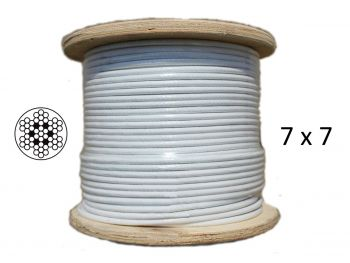 3.2mm White Coated 7x7 G316 Stainless Steel Wire Rope