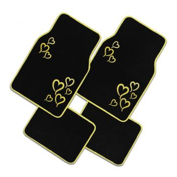 Car Carpet Floor Mats Front And Rear Full Set With Rubber Backing-Universal Fit, 4 Piece, Yellow Hearts