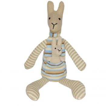 Plush Toy Kangaroo & Baby Joey - Blue/Stripe