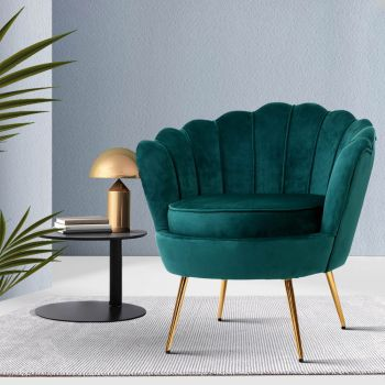 Armchair Lounge Chair Accent Armchairs Retro Lounge Accent Chair Single Sofa Velvet Shell Back Seat Green