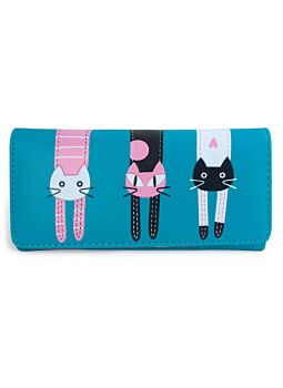 Turquoise Large Cat Wallet Pu Fashionable Cat Lover With Printed Cat Design Per-Fect For A New Ladies Girls Purse Wallet