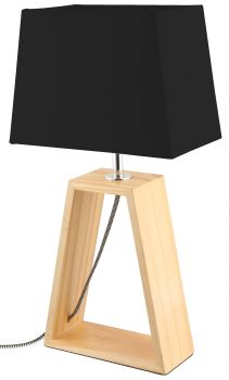 LUMINITE WOOD TABLE LAMP OBO BLACK 20X12X38