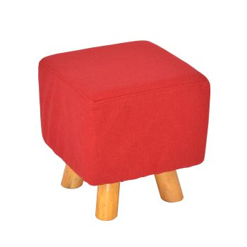 Ottoman Chic and Luxurious Fabric Padded Wooden Foot Stool Rest in Red