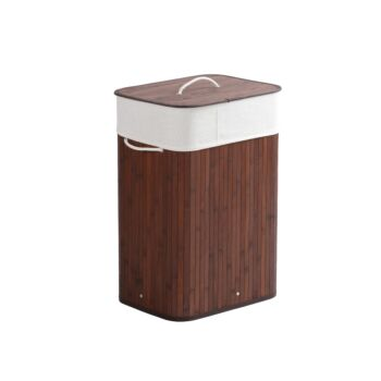 Sherwood Home Tall Rectangular Folding Bamboo Laundry Hamper with Lid - Natural Bamboo - 40x30x60cm