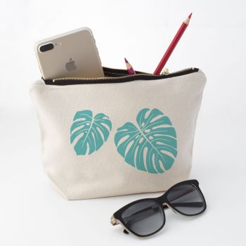 Tropical Leaves Makeup Bag