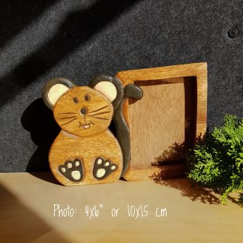 Kids Childrens Room Wooden Photo Frame 6x4 Home Decor Picture Mouse