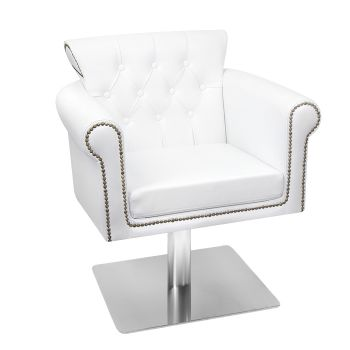 Glammar Avery Salon Chair White With Square Base