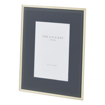 7 x 5 Grey / Gold Glass Photo Frame