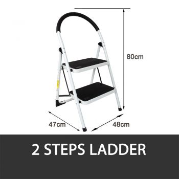 2 STEP LADDER MULTI PURPOSE FOR HOUSEHOLD OFFICE FOLDABLE NON SLIP