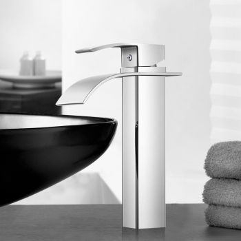 Bathroom Taps Faucet Mixer Tap Basin Vanity Brass Tall Silver WELS