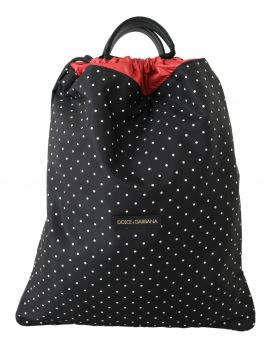 Dolce & Gabbana Black Dotted Adjustable Drawstring Women Nap Sack Bag