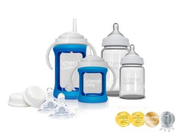 Glass Baby Bottles Starter Kit -Blue
