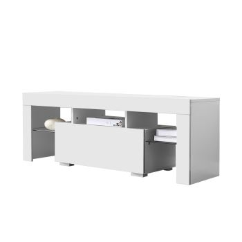 Levede TV Wooden LED Lowline Cabinet in White Colour