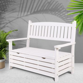 Outdoor Storage Bench Box Wooden Garden Chair 2 Seat Timber Furniture Toy Tool Sheds Store Gardeon White