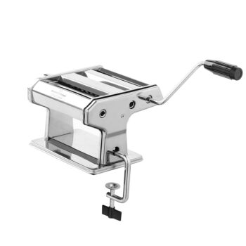Gourmet Kitchen Chef Series Stainless Steel Pasta Maker - Italian Fettuccine and Spaghetti - Silver