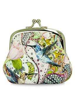Beautiful Cloth Covered and Lined Coin Purse Humming Bird