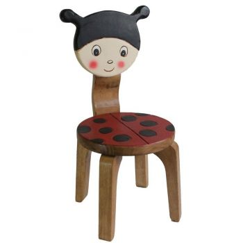 OSAKA Kids Children's Chairs Wooden Indoor Outdoor Play Kids Chair Lady Bug