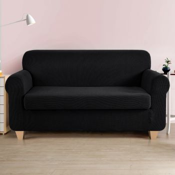 Artiss 2piece 1 2 3 Steater Sofa Cover Elastic Stretch Couch Covers Protector Black